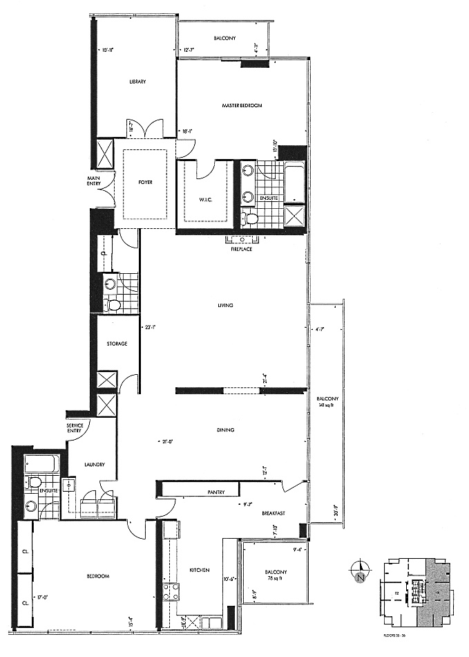 18 Yorkville Ave Toronto The Bedford Penthouse Floor Plans 3 Bedrooms 2687 Sq Ft Plus Balconies Annex Condos